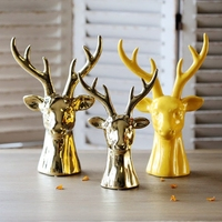 The Golden Deer Head Paint Furniture Furnishing Articles Furnishing Articles Ceramic Decoration Head Resin Paint Furniture