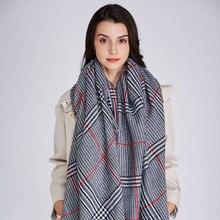 Дизайн большой плед Модный печатный рисунок женский шарф теплый хлопок длинные толстые женские шали Хиджаб зимний женский шарф