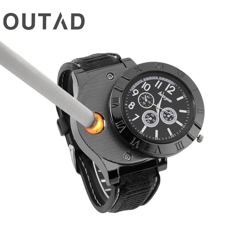 OUTAD Men Metal Wrist Watch Quartz Windproof Electronic Cigarette Lighters Sports Man Watches USB Rechargeable