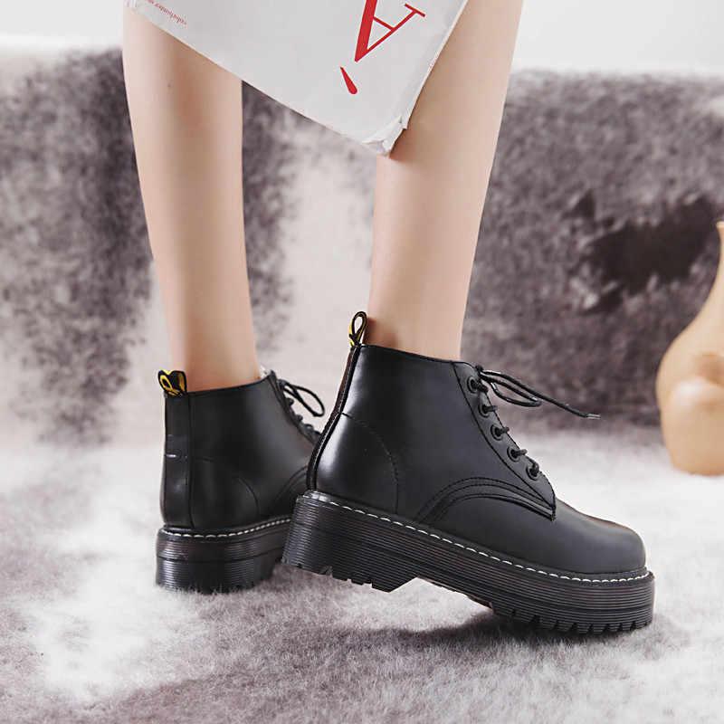 COOTELILI Donne Stivali Alla Caviglia Scarpe Stivali Invernali Lace-Up Lavorato A Maglia Scarpe Basse Stivali di Gomma Delle Donne Scarpe di Cuoio 3 centimetri tacco