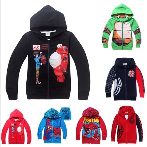 2015 moda de nova do homem aranha crianças camisola roupas meninas casacos criança meninos big hero 6 casual roupas de primavera casacos outono