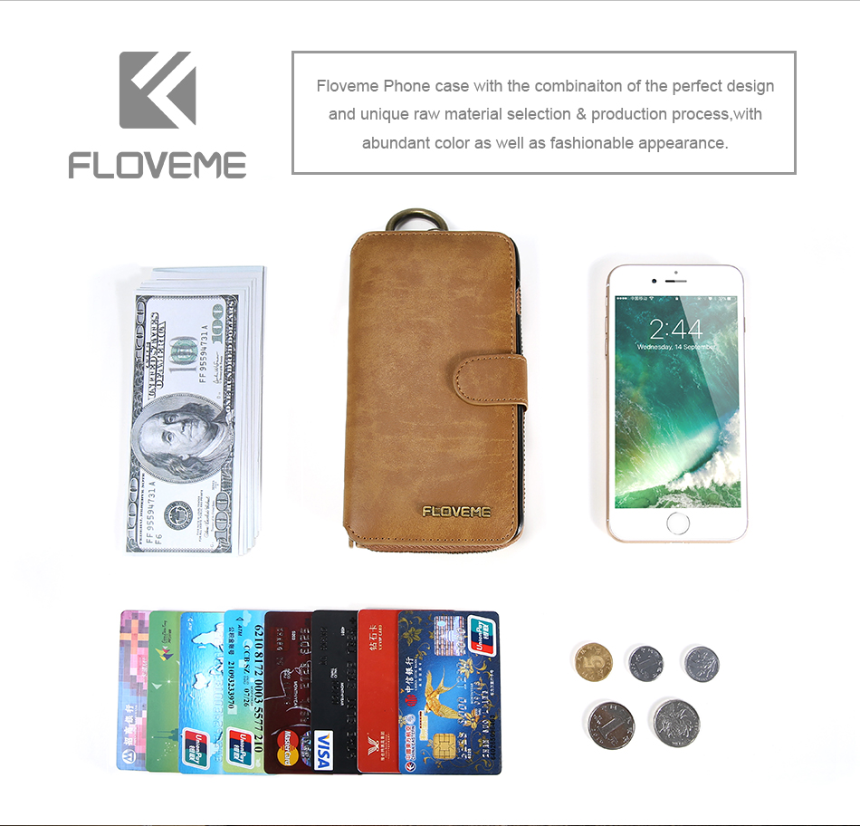 Floveme vintage leather wallet phone case for iphone 7 7 plus 6 6 s plus retro torebka slot kart pokrywa dla samsung s7 s8 coque 4