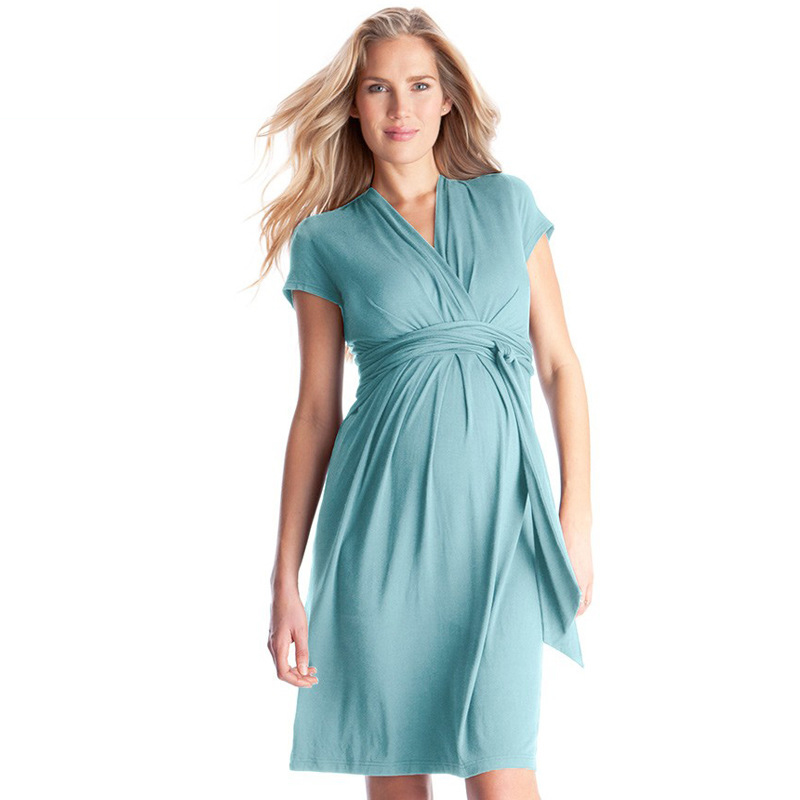 Fashion Short Sleeve V-neck Maternity Dress Pregnant Clothes Summer Elegant Blue Sash Front Women Dress for Pregnancy Vestidos women formal dresses for work elegant office pencil bodycon short sleeve turn down collar with belt dark blue summer dress