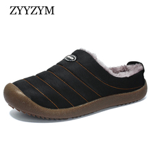 купить ZYYZYM Men Winter Slippers Unisex Home Furnishing Indoor Cotton Shoes Men New Warm Plush Slippers Fashion Mens Slides Shoes дешево