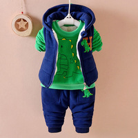 2016 Winter Kids Three Piece Sets Coat Fashion Cotton Boys Girls Clothes Sports Warm Plus Thick