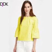 DIDK Yellow Trumpet Sleeve Pearl Embellished Keyhole Blouse Autumn Round Neck 3 4 Sleeve Elegant Blouse
