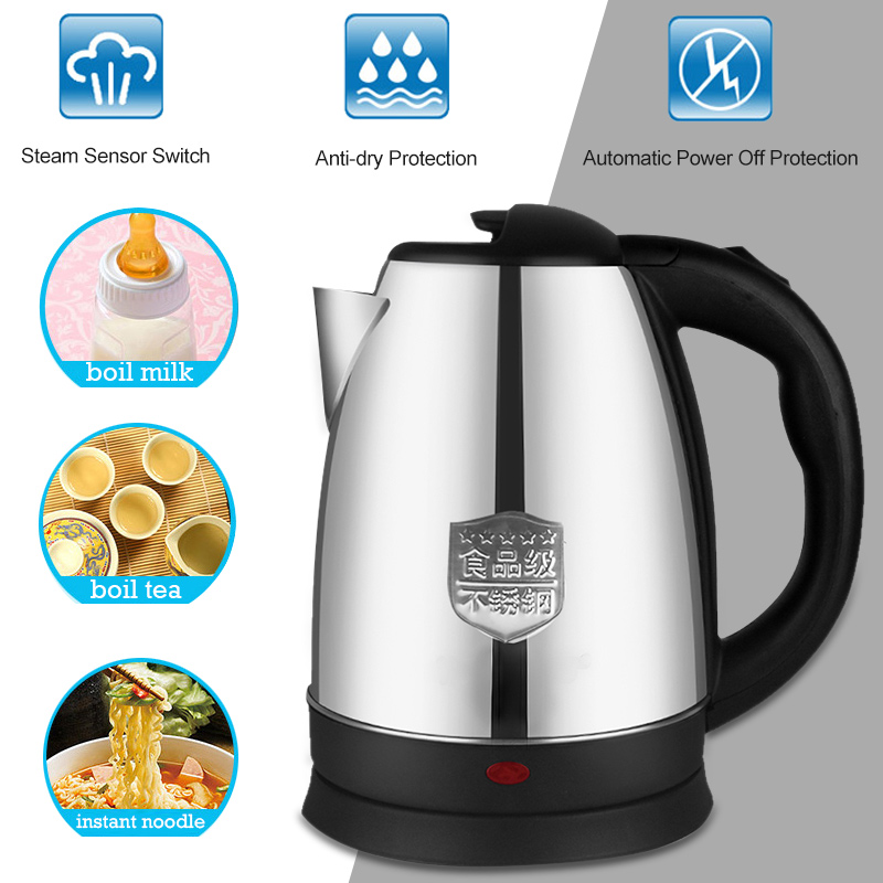 Electric Kettle 2L Stainless Steel Home Kitchen Keep Warm Boiler Practical Portable Appliances Travel Office Heating Water
