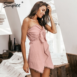 Image 4 - Simplee Sexy off shoulder playsuit women Elegant tassel bow embroidery short jumpsuit Summer cotton linen female overalls romper