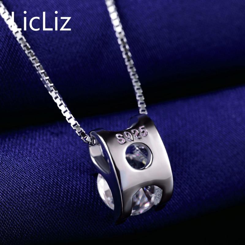 LicLiz 925 пробы серебряный пасьянс подвески для женщин белый желтый фиолетовый кубический цирконий подвески для ожерелья медальон без цепи LP0214