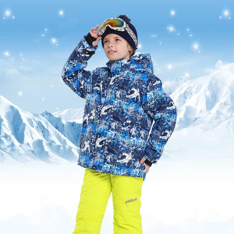 子供冬の少年スキースーツフード付き屋外スノーボードジャケット保温子供のスキーセット Roupa デスキー Terno Esqui 暖かい防風