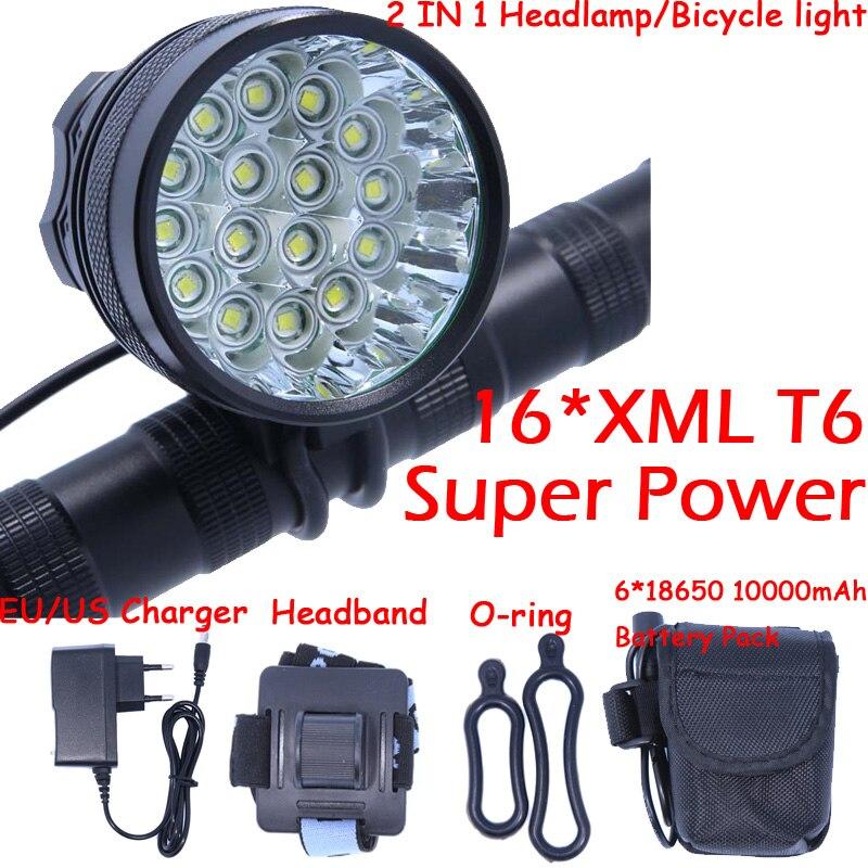 Longer Running Time 20000 Lumens 16 X XM-L T6 LED Bicycle Front Light Cycling Bike Headlight Headlamp