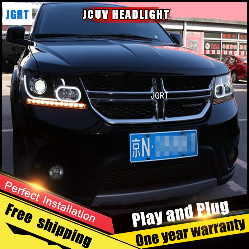 Car Style LED headlights for Fiat Freemont 2012-2014 for Freemont head lamp LED DRL Lens Double Beam H7 HID Xenon bi xenon lens for volkswagen polo mk5 vento cross polo led head lamp headlights 2010 2014 year r8 style sn