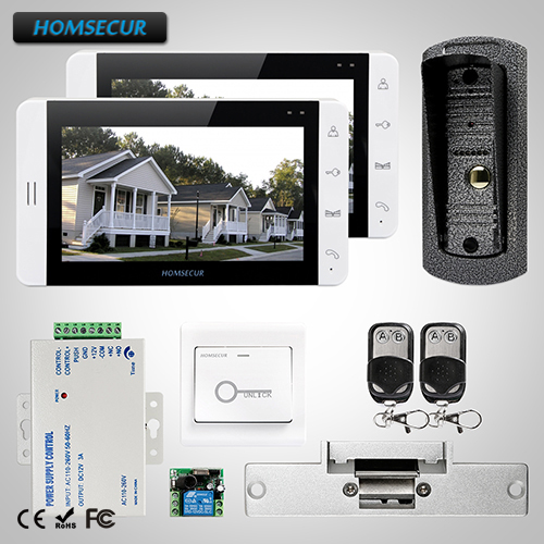 HOMSECUR 7 Wired Video&Audio Home Intercom Electric Strike Lock Set Included 1C2M+L1:TC041 Camera+TM703-W Monitor (White)+Lock