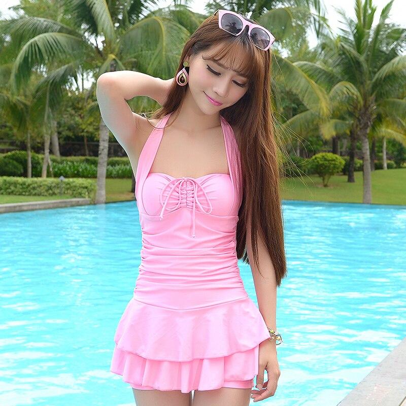 Купальник юбкой розовый