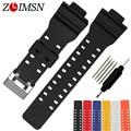 Zlimsn borracha pulseiras de relógio do esporte relógio preto cinta buckel aço matte silicone para casio cilicone condução relógio relogio masculino