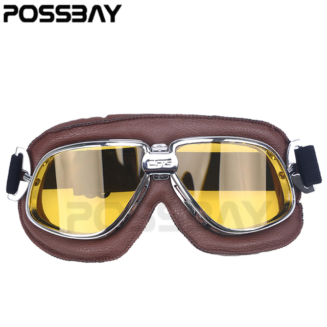 cbca538af6 Leather Motorcycle Glasses Vintage Pilot Motocross Goggles Helmet Cycling Eyewear  Sunglasses For Harley Style Cafe Racer