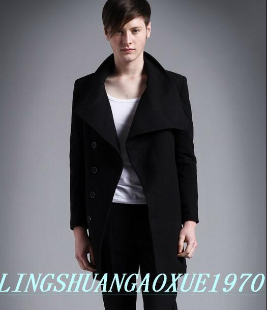 Nero casual abbottonatura Obliqua cappotto di lana uomini 2019 giacche e  cappotti maschili mens cappotti di lana del vestito di inverno giacca corta  trench ... e97a521b78e