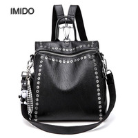 IMIDO New Women Backpack Brand Designer Soft Leather Black Backpacks For Girls Rivet Bag With Bear