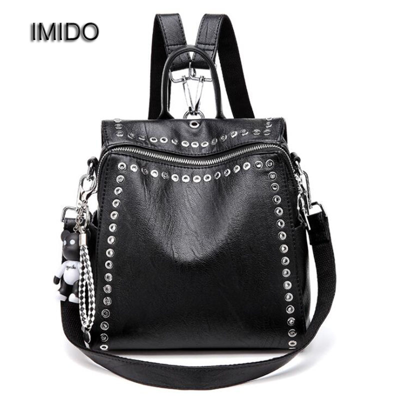 IMIDO New Women Backpack Brand Designer Soft Leather Black Backpacks for Girls Rivet Bag with Bear Charm mochila feminina SLD054 zooler women s backpack eyes sequined designer black cartoon eyes backpacks travel bag cute shell backpacks for teenager girls