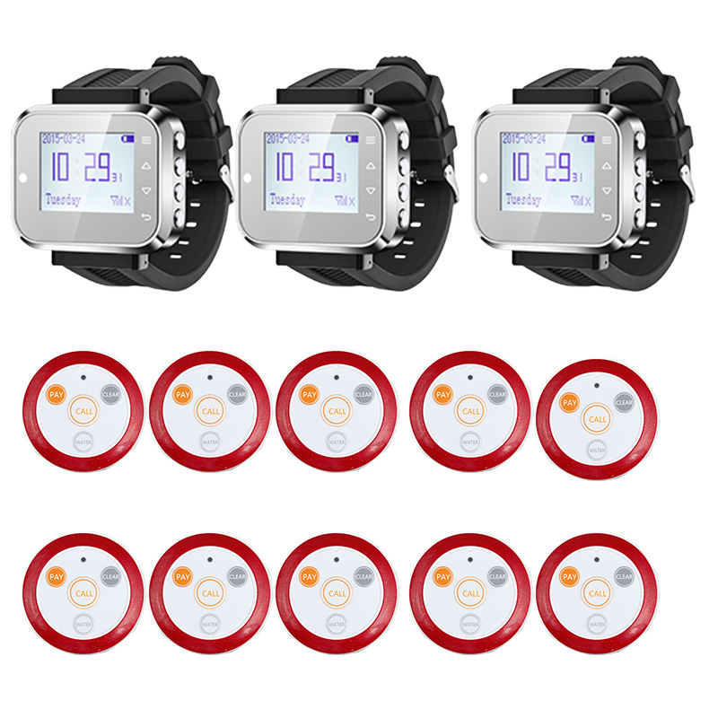 3pcs Hot Sale Black Waiter Service Calling System Watch Pager Service System (KR-C166) + 10pcs F64 Wireless Transmitter one set wireless system waiter caller bell service 1 watch wrist pager with 5pcs table customer button ce passed