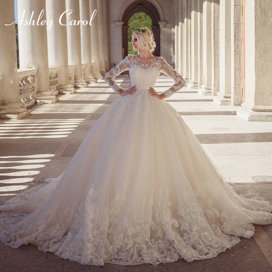 Ashley Carol Sexy Scoop Long Sleeve Beading Lace Ball Gown Wedding Dress 2019 Luxury Princess Wedding Gowns Vestido De Novia
