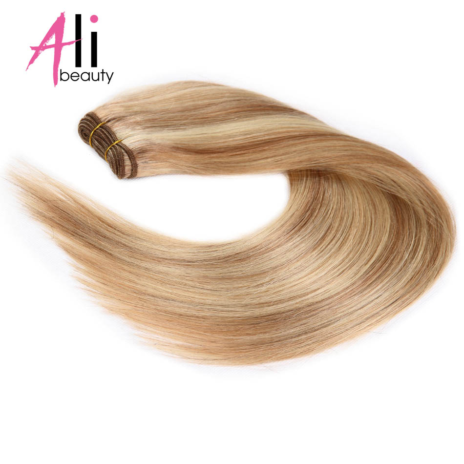 ALI BEAUTY Brazilian Straight Human Hair Weave Bundles P18 613 Hair Weft Machine Made Remy Hair