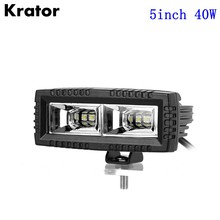 Krator 5″inch 40W 4000LM 6000K Flood Beam LED Work Light Lamp Bar Offroad Driving Truck Waterproof 12v 24v