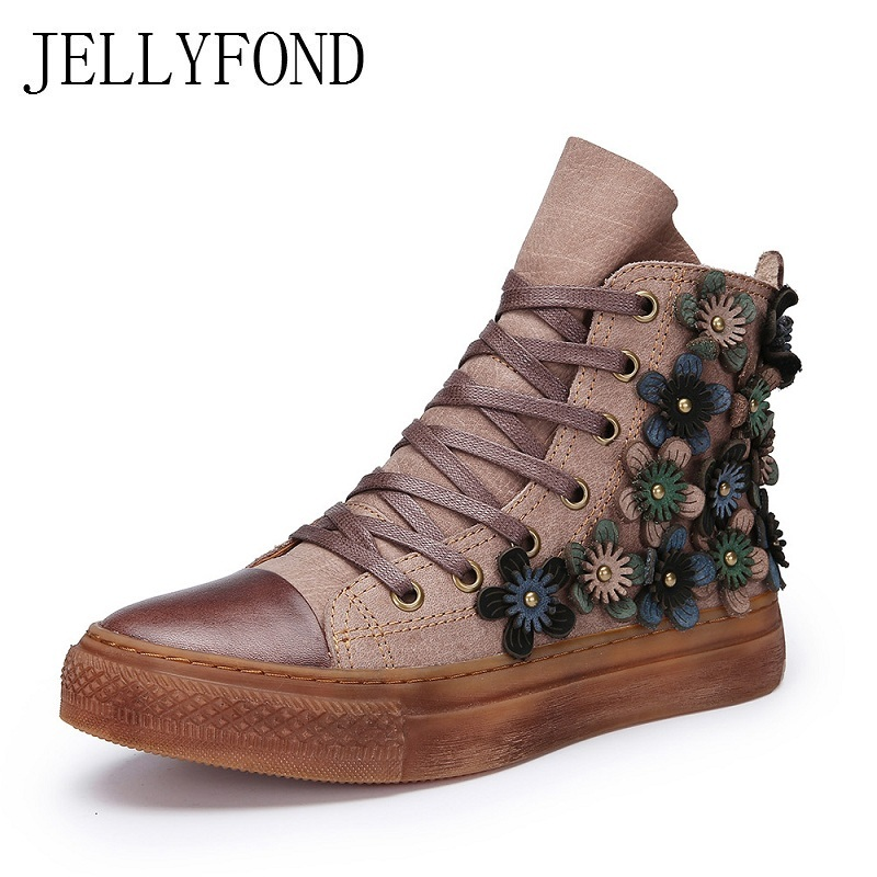 JELLYFOND Real Leather Handmade Flowers Women Flat Boots 2017 Autumn Lace Up Punk Combat Ankle Boots Designer Shoes Woman