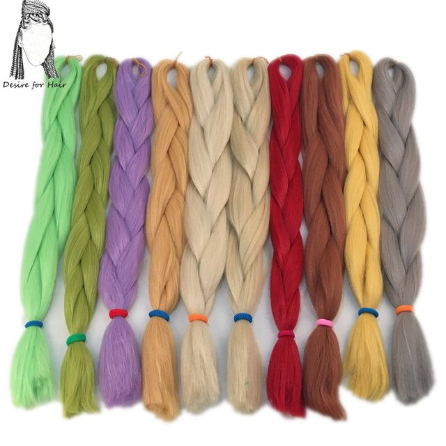 Desire for hair 5packs 24inch 80g 90colors heat resistant synthetic jumbo braiding hair extensions for small twist braids making
