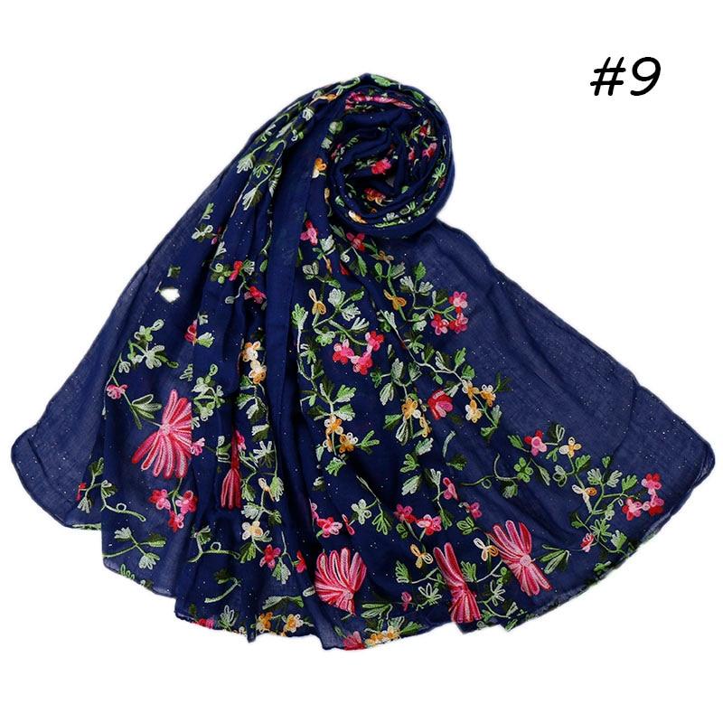 刺繍グリッターヒジャーブスカーフ女性教徒ラップ綿ヘッドバンドショールスカーフヘッドバンドラップイスラムスカーフ 10 ピース/ロット  グループ上の アパレル アクセサリー からの レディース スカーフ の中 1