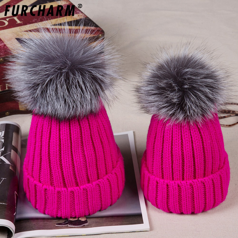 Mother&Baby Hats For Winter fur pompom knitted hat cap Girls Boys Warm Winter Knitted Beanie Silver fox Fur Pompom Hat Kids Cap 1pcs winter beanies solid color hat unisex plain warm soft beanie skull knit cap hats knitted touca gorro caps for men women