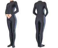 Women Long Sleeve Black Spandex Zentai Unitard Dance Lycra Catsuit Mock Neck Full Bodysuits Footed Zip