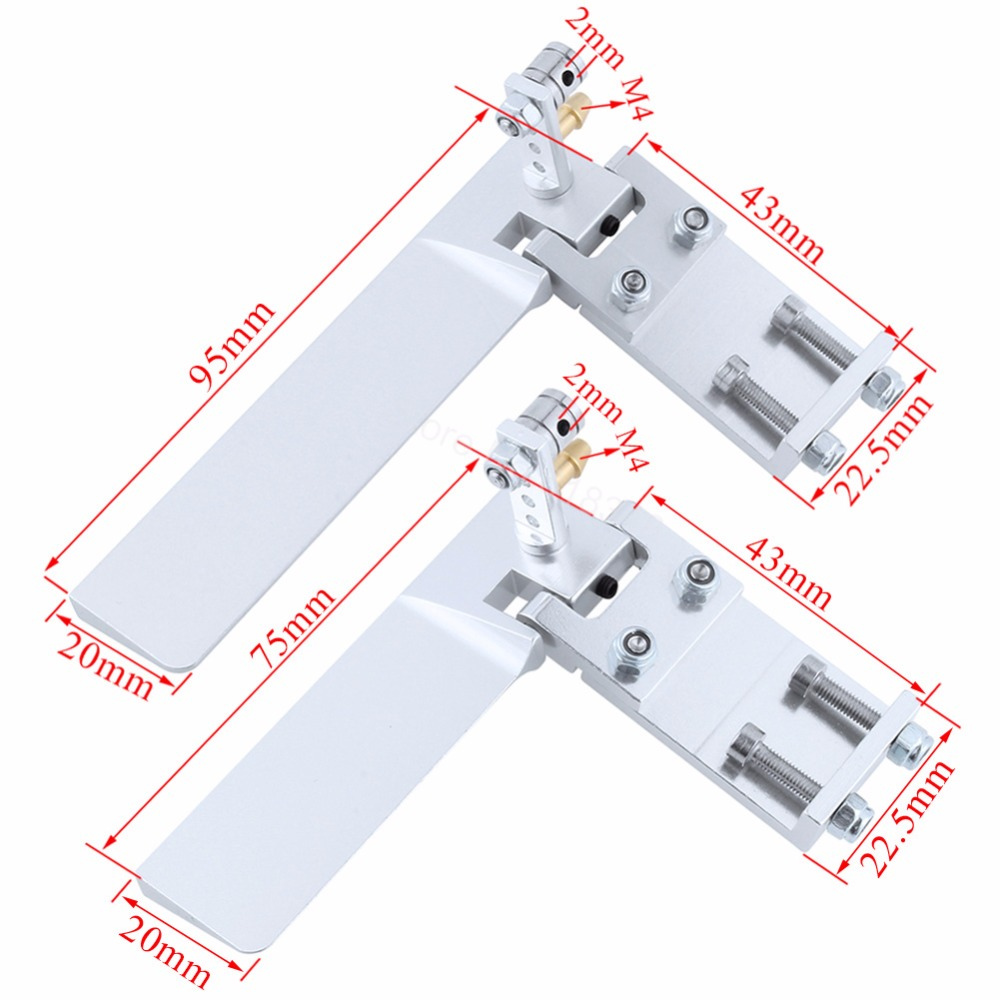 Aluminum 75mm 95mm Long RC Boat Rudder With Water Pickup Absorbing Steering for Electric Gas Remote Control Model Parts CNC cnc aluminum water cooling jacket for 29cc zenoah engine rc boat