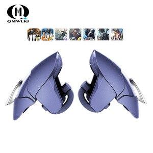 Image 1 - Azul shark design pubg telefone inteligente móvel gaming trigger pubg controlador móvel fogo/aim botão l1 r1 shooter joystick gamepad