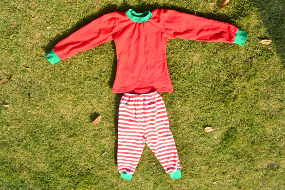 Wholesale Toddler Girls fashion long sleeves pyjamas Cotton christmas style Trendy Red Green Santa Stripe Christmas Outfit Sets