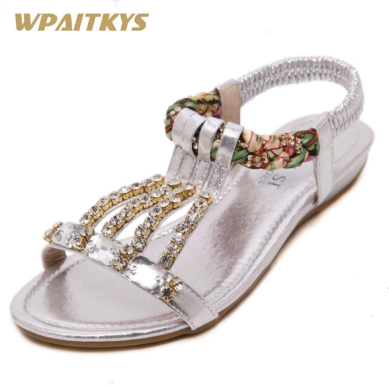 Exquisite weibliche Sandalen Schuhe mit Mode Schuhe Gold Silber - Damenschuhe - Foto 1