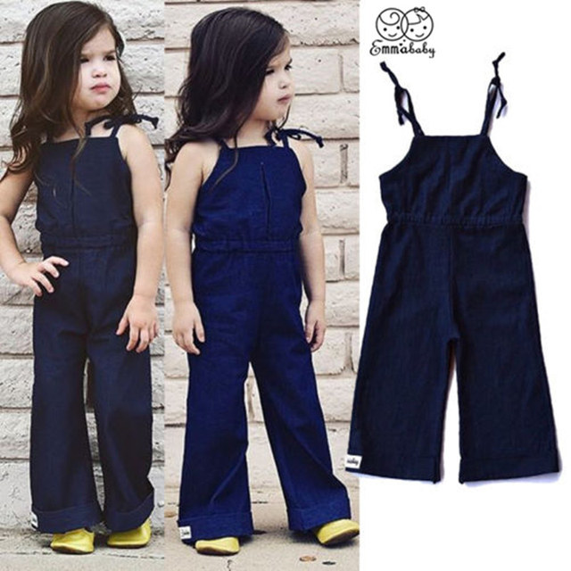 761bbc3874f Fashion Newborn Baby Girls Kids Denim Loose Pants Strap Sleeveless Jumpsuit  Fille Jolie Outfits Girl Jeans Clothes 1-7T