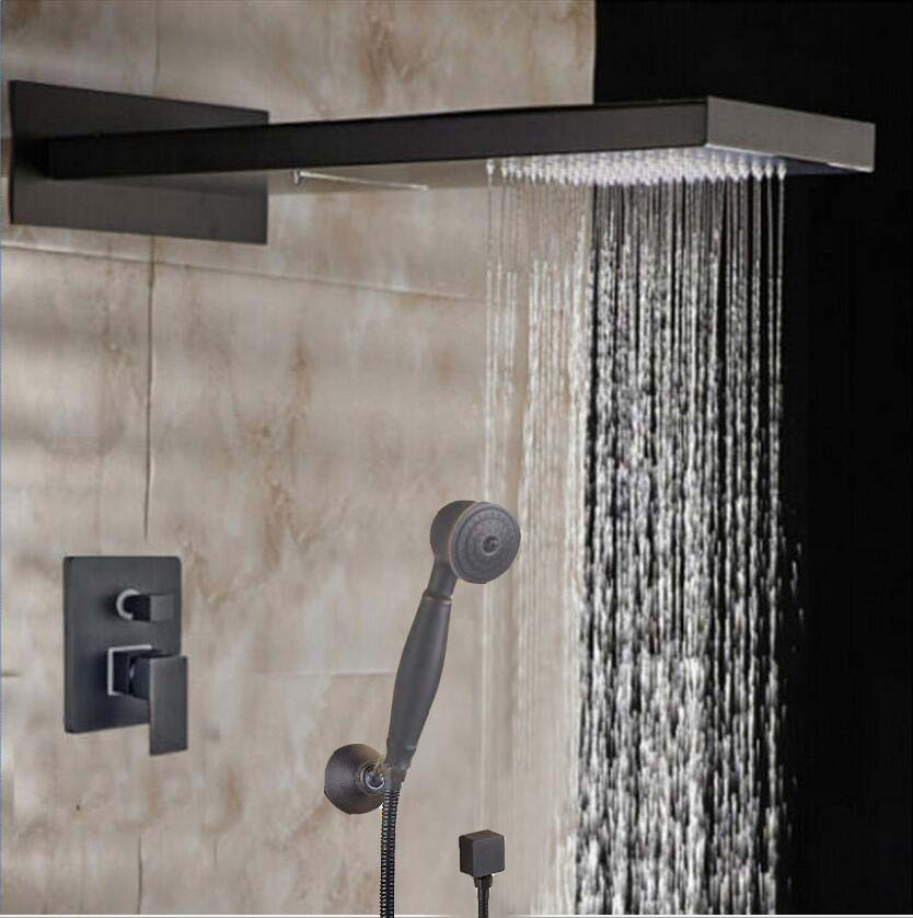 Wall Mounted Single Handle Oil Rubbed Bronze Shower Faucet Mixer Tap + Hand Shower