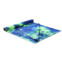 Yoga Mat Unique Tie Die Printing Rectangle Yoga Mat Non Slip Sports Fitness Towel Blanket with Net Bag Widened Dance Pad Drape