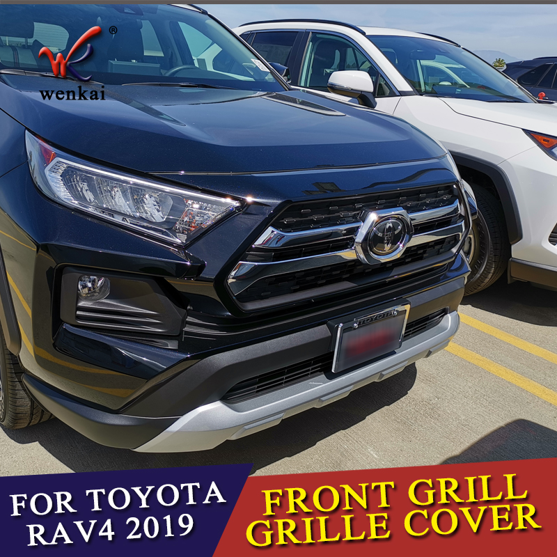 Car Styling Parts For Toyota Rav4 Rav 4 Adventure 2019 2020 ABS Chrome Front Center Grille Grill Cover Trim Exterior Accessories(China)