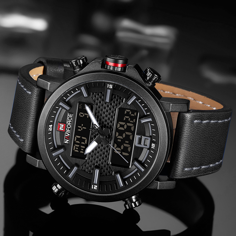 2019 NAVIFORCE New Men's Fashion Sport Watch Men Leather Waterproof Quartz Watches Male Date LED Analog Clock Relogio Masculino 3