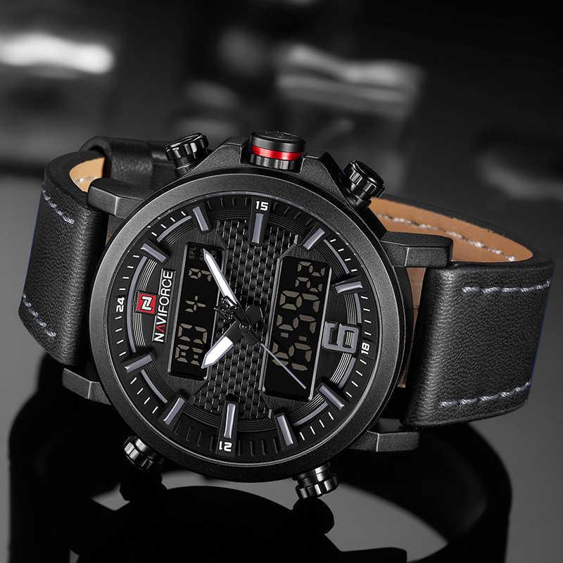 2019 NAVIFORCEใหม่ของผู้ชายแฟชั่นนาฬิกาผู้ชายนาฬิกาหนังกันน้ำควอตซ์ชายนาฬิกาLED AnalogนาฬิกาRelogio Masculino