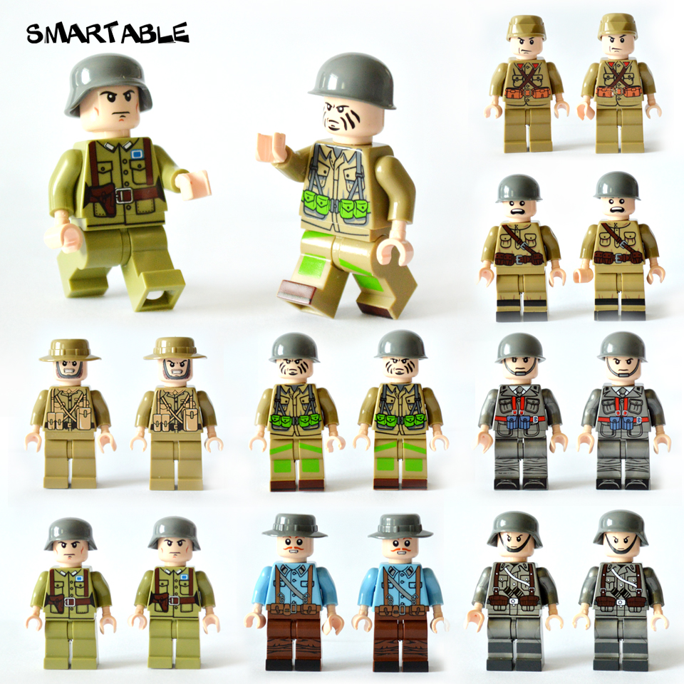 Smartable 16pcs/set Building Blocks Figures brick toys Compatible Legoing Figures military soldier for Christmas Gift 8 in 1 military ship building blocks toys for boys