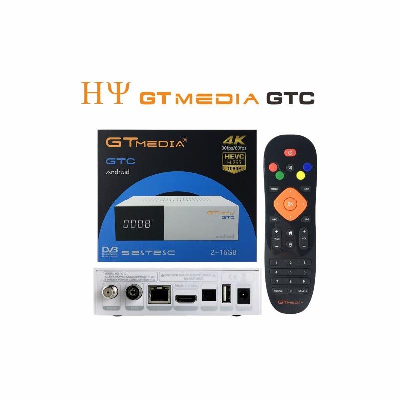 GTmedia GTC Satellite Receiver DVB-S2 DVB-C DVB-T2 ISDB-T Amlogic S905D android 6.0 TV BOX 2GB RAM 16GB ROM BT4.0 Freesat GTC стоимость
