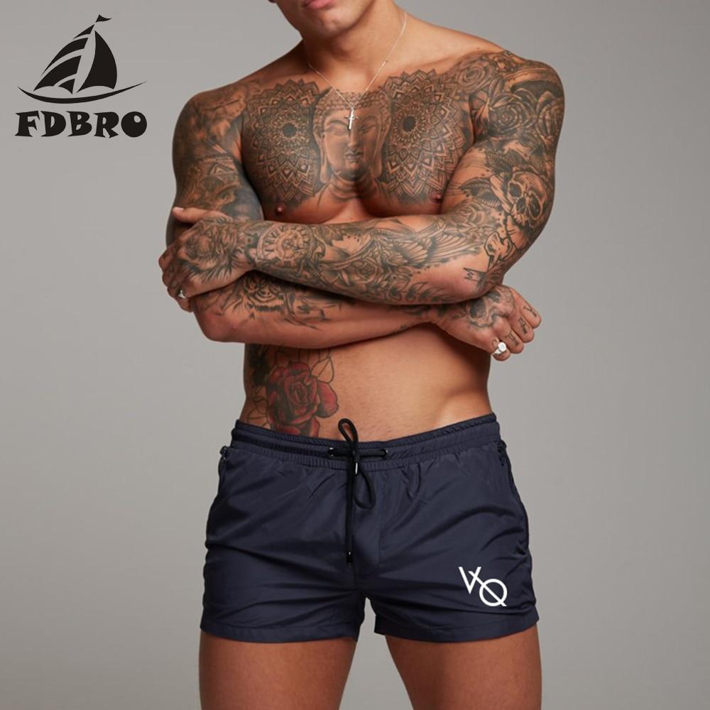 FDBRO 2019 New Men Swim Trunks Sexy Swimsuit Swimwear Men Swimming Shorts Men Briefs Beach Shorts Sports Suits Surf Board Shorts