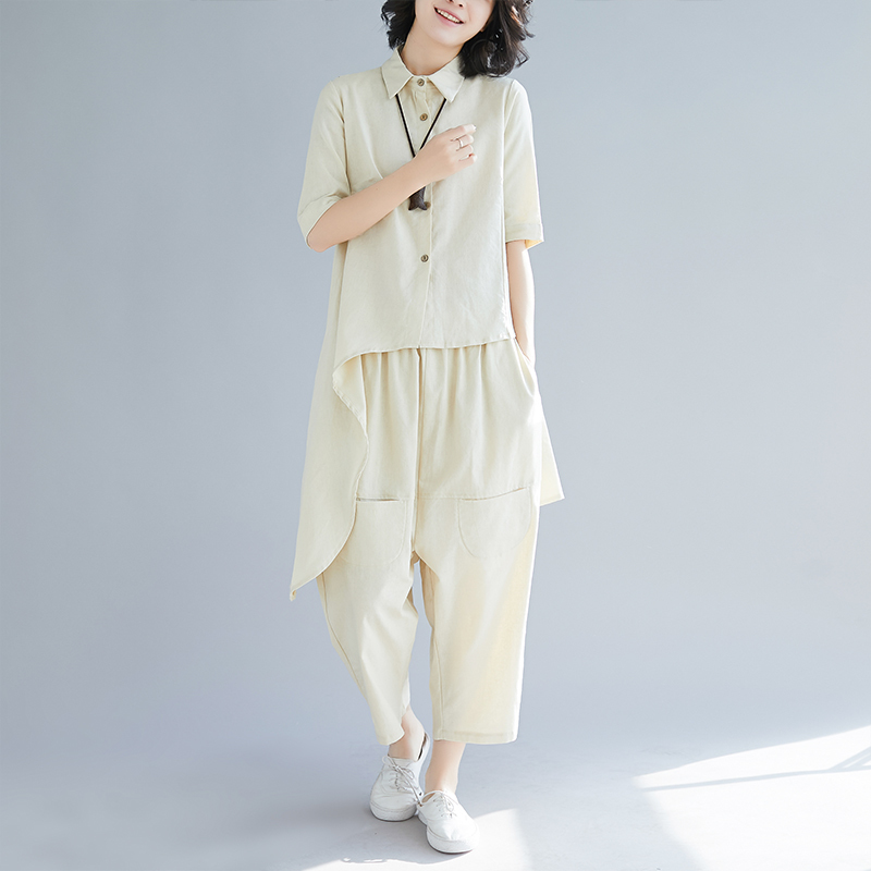 0825 Asymmetrical Long Shirt Short Sleeve And Harem Wide Leg Pants 2 Piece Outfits For Women Top And Pants Cotton Linen Summer in Women 39 s Sets from Women 39 s Clothing