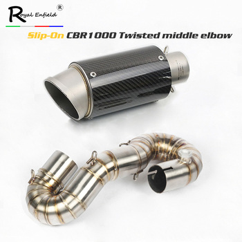 CBR1000rr Sli-on Motorcycle twisted exhaust middle link pipe bend escape muffler elbow for Honda cbr1000rr 2008-2014