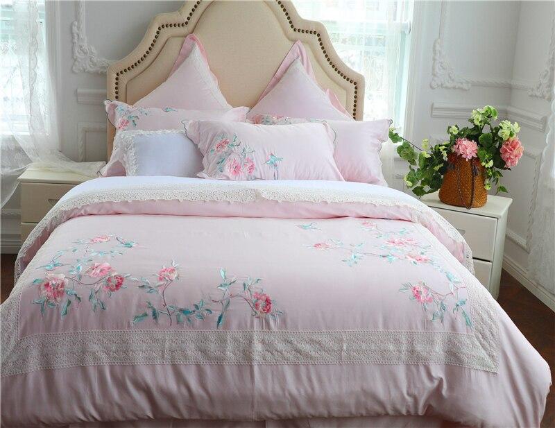 Luxe egypte coton fleurs et oiseaux ensemble de literie broderie soyeuse housse de couette drap de lit taies d'oreiller reine roi taille 4/6/7 pièces