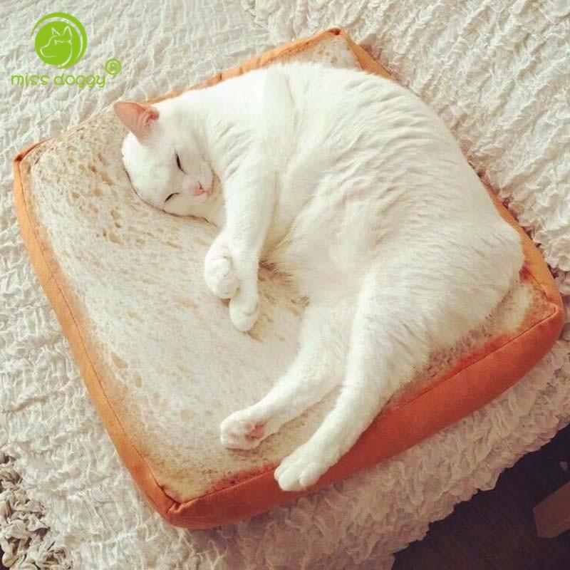 MISS DOGGY Divertido Gato 3D Tostado Cama Pan Gato Perro Alfombrillas de cama Lindas Camas para perros pequeños Cojín cálido con diseño extraíble Lavable Lavable