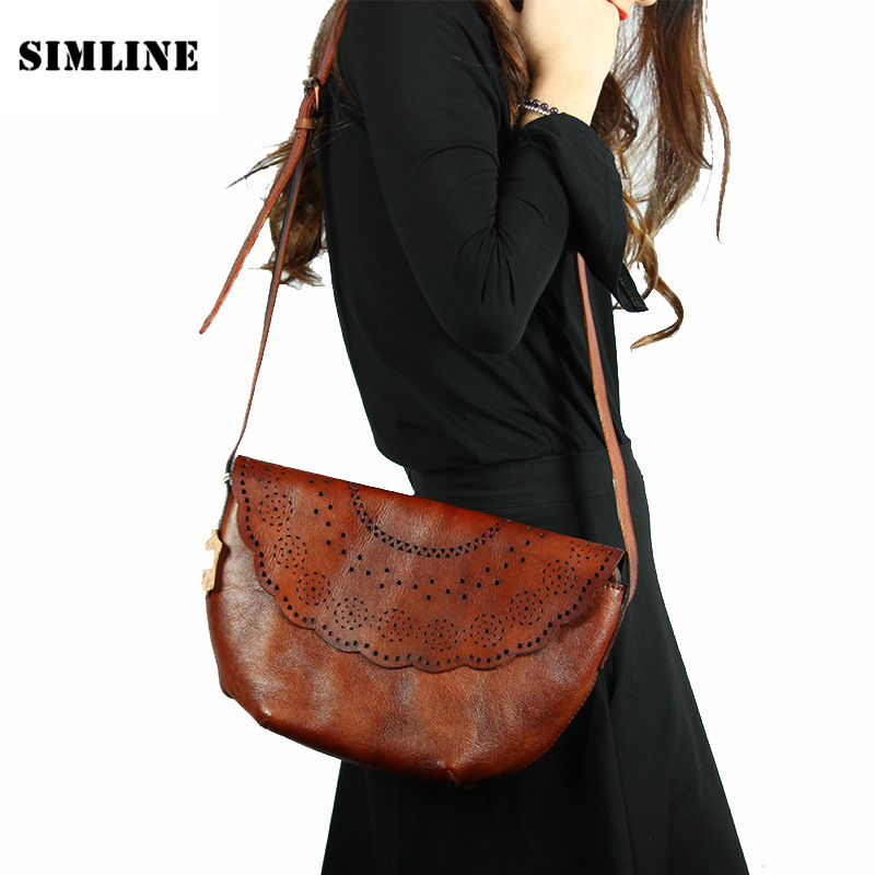 Vintage Casual Handmade Genuine Vegetable Tanned Leather Cowhide Women Handbag Shoulder Messenger Crossbody Bag Bags For Ladies women handbag shoulder bag messenger bag casual colorful canvas crossbody bags for girl student waterproof nylon laptop tote